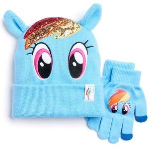 My little pony Dash hat & glove set (NWT)
